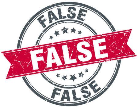 false: false red round grunge vintage ribbon stamp