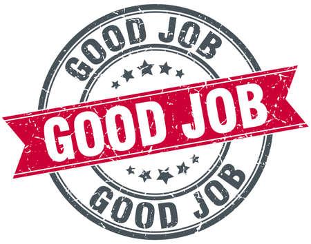 good job: good job red round grunge vintage ribbon stamp