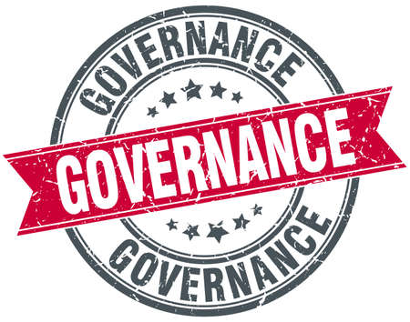 governance: governance red round grunge vintage ribbon stamp