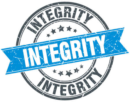 integrity blue round grunge vintage ribbon stamp Vector Illustration
