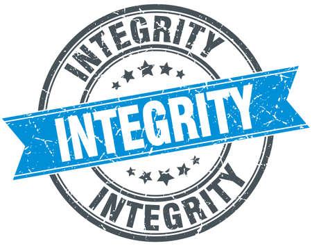 integridad: sello de cinta azul redonda del grunge de la vendimia integridad