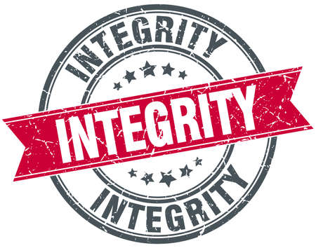 integrity: integrity red round grunge vintage ribbon stamp Illustration