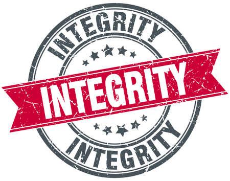 integridad: sello de la cinta del grunge redondo rojo vendimia integridad