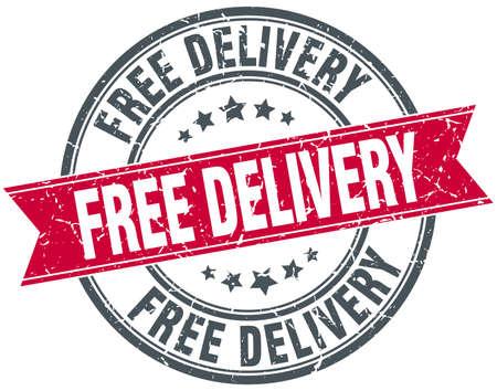 free delivery red round grunge vintage ribbon stamp 일러스트