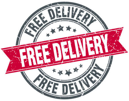 free delivery red round grunge vintage ribbon stamp Illustration