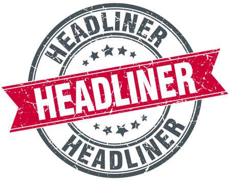 headliner: headliner red round grunge vintage ribbon stamp