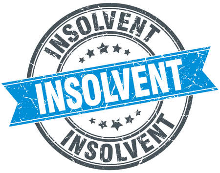 distress: insolvent blue round grunge vintage ribbon stamp