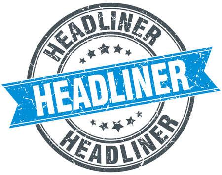 headliner: headliner blue round grunge vintage ribbon stamp