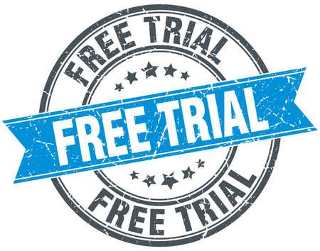 free trial: free trial blue round grunge vintage ribbon stamp