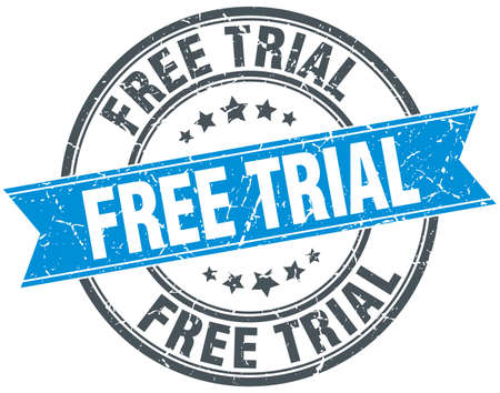 free trial blue round grunge vintage ribbon stamp