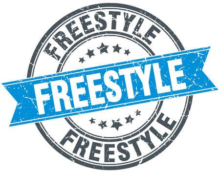 freestyle: freestyle blue round grunge vintage ribbon stamp