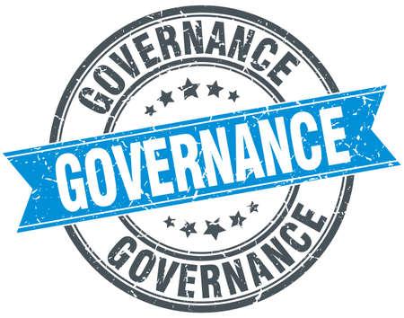 governance: governance blue round grunge vintage ribbon stamp