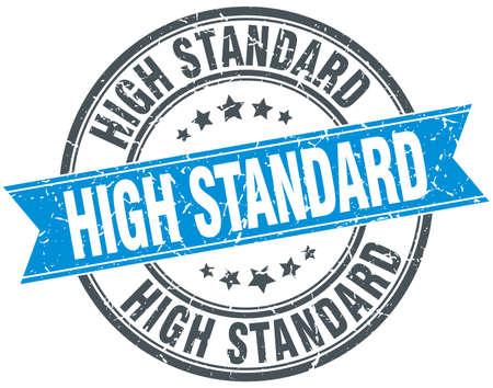 standard: high standard blue round grunge vintage ribbon stamp