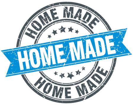 home made: home made blue round grunge vintage ribbon stamp Illustration
