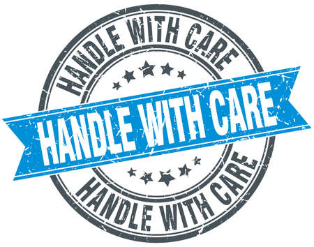 handle with care: handle with care blue round grunge vintage ribbon stamp