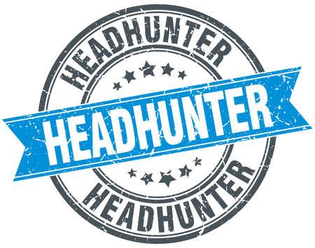 headhunter: headhunter blue round grunge vintage ribbon stamp