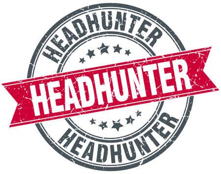 headhunter: headhunter red round grunge vintage ribbon stamp Illustration