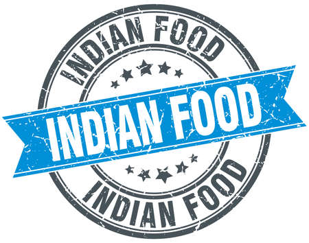 indian food: indian food blue round grunge vintage ribbon stamp