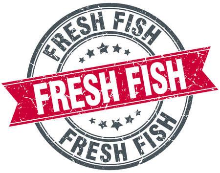 fresh fish: fresh fish red round grunge vintage ribbon stamp