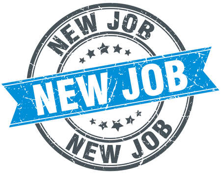 new job: new job blue round grunge vintage ribbon stamp Illustration