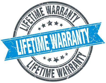 lifetime warranty blue round grunge vintage ribbon stamp
