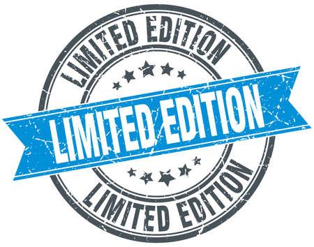 limited edition: limited edition blue round grunge vintage ribbon stamp Illustration