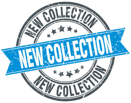 new collection: new collection blue round grunge vintage ribbon stamp
