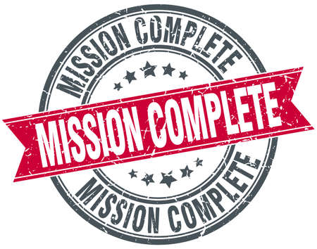 rubber band: mission complete red round grunge vintage ribbon stamp