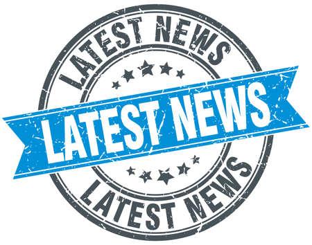 latest news: latest news blue round grunge vintage ribbon stamp