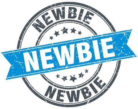 newbie: newbie blue round grunge vintage ribbon stamp Illustration