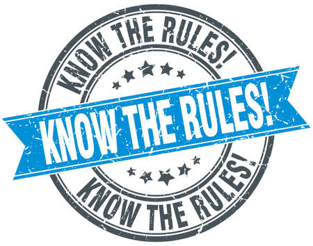 know: know the rules blue round grunge vintage ribbon stamp Illustration