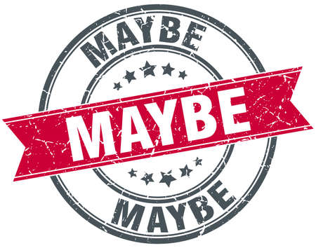 maybe: maybe red round grunge vintage ribbon stamp Illustration