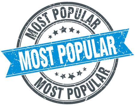 most popular: most popular blue round grunge vintage ribbon stamp Illustration