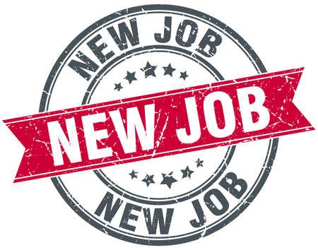 new job: new job red round grunge vintage ribbon stamp Illustration