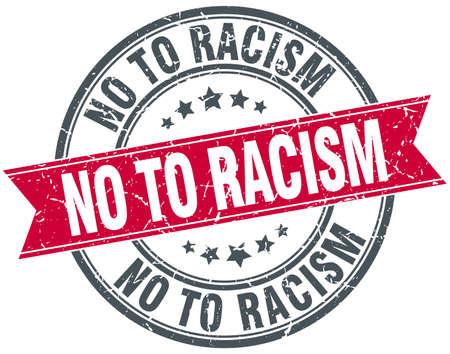 racismo: no a la marca de cinta de la vendimia del grunge redondo rojo racismo