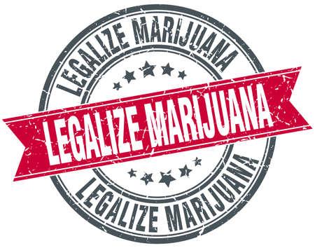 legalize: legalize marijuana red round grunge vintage ribbon stamp