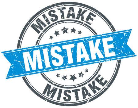 mistake: mistake blue round grunge vintage ribbon stamp
