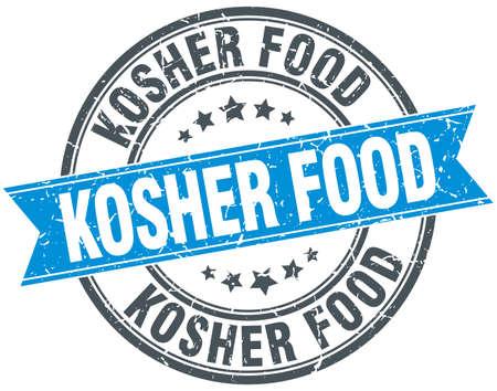 kosher: kosher food blue round grunge vintage ribbon stamp Illustration