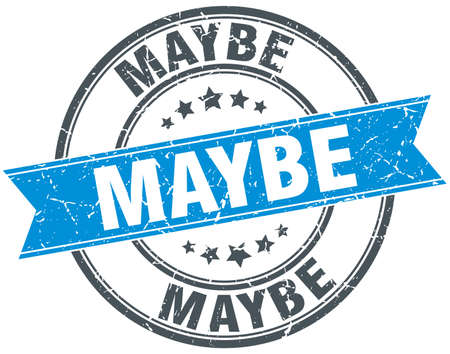 maybe: maybe blue round grunge vintage ribbon stamp