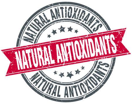 antioxidants: natural antioxidants red round grunge vintage ribbon stamp