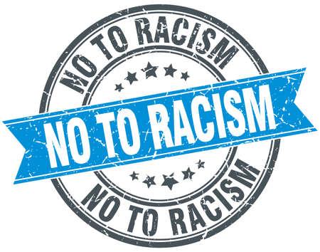 racism: no to racism blue round grunge vintage ribbon stamp