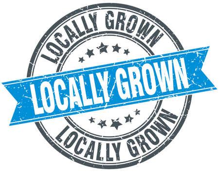 grown: locally grown blue round grunge vintage ribbon stamp
