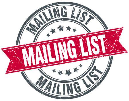 mailing: mailing list red round grunge vintage ribbon stamp
