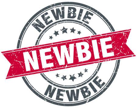 newbie: newbie red round grunge vintage ribbon stamp