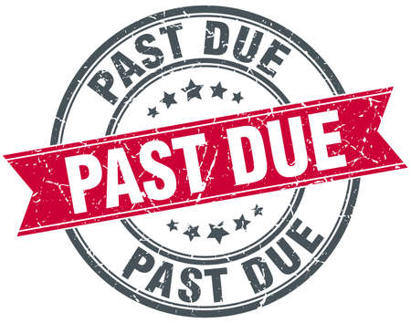past due: past due red round grunge vintage ribbon stamp