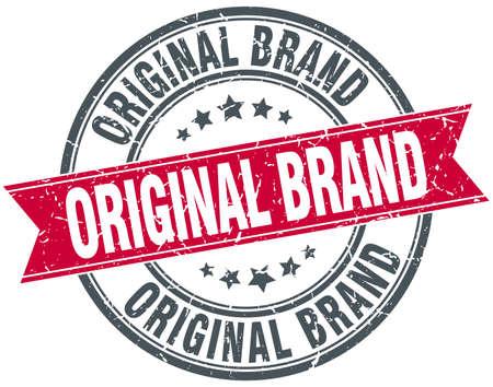 originele merk ronde rood grunge vintage ribbon stamp Vector Illustratie