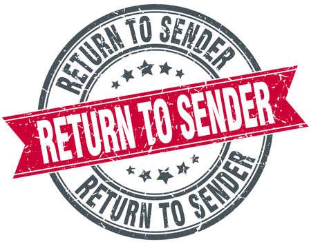 sender: return to sender red round grunge vintage ribbon stamp