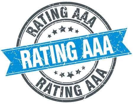 aaa: rating aaa blue round grunge vintage ribbon stamp