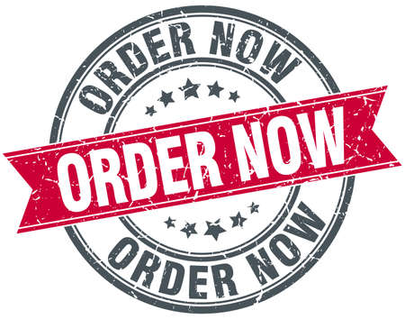 order now: order now red round grunge vintage ribbon stamp