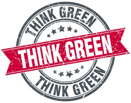 think green: think green red round grunge vintage ribbon stamp